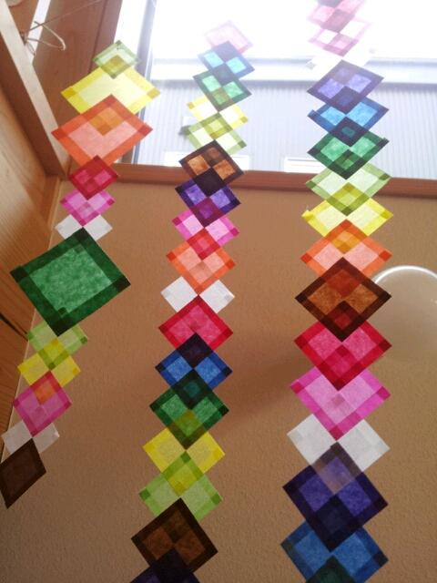 飾り工作シリーズ4】ひし飾り ... : 短冊飾り 折り紙 : 折り紙